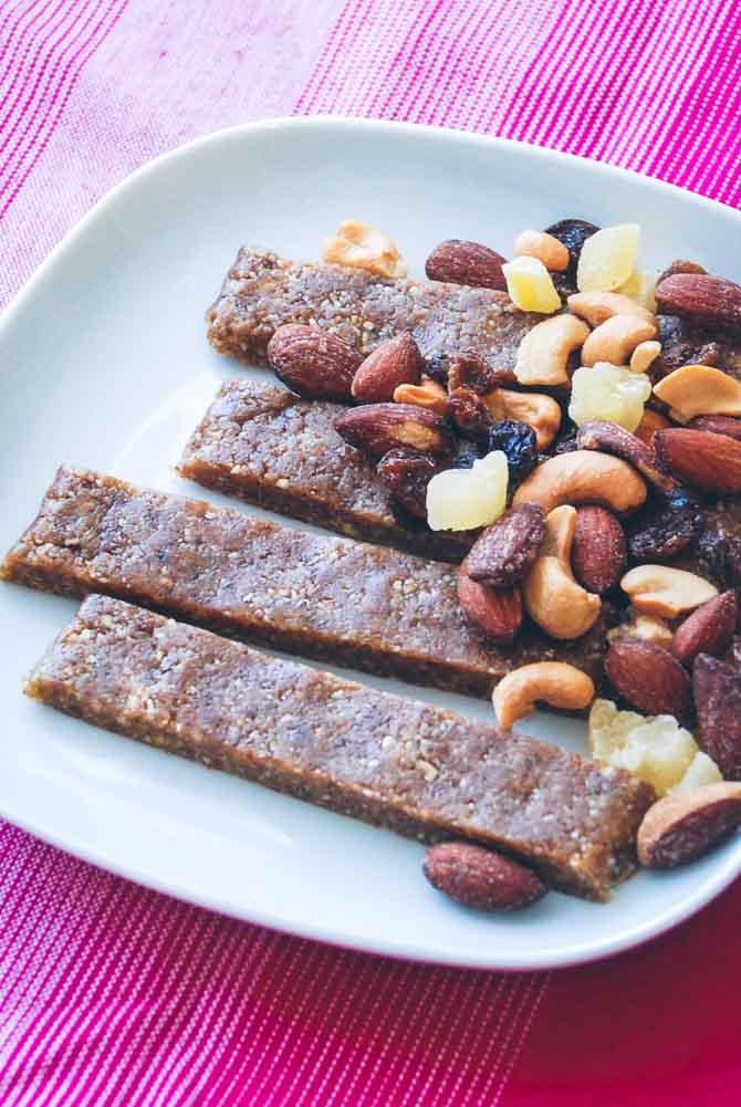 Energibarer med frugt og nødder