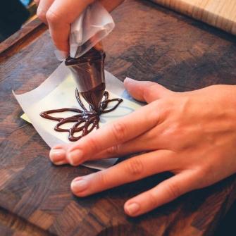 Sprøjte chokoladepynt
