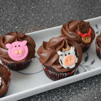 Cupcakes med bondegårdsdyr