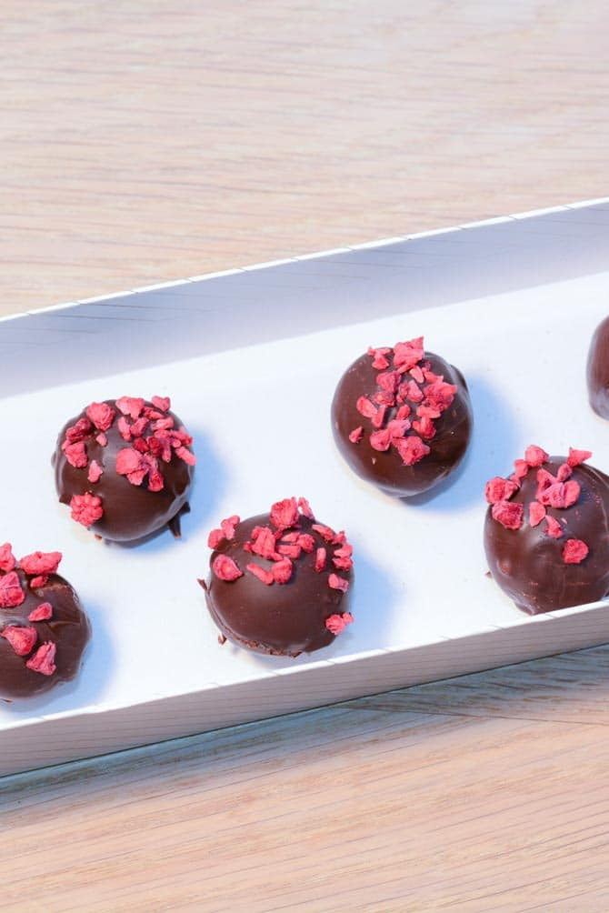 Nougat konfekt med hindbær