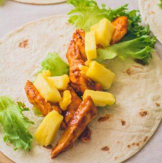 Wraps med ananas og kylling