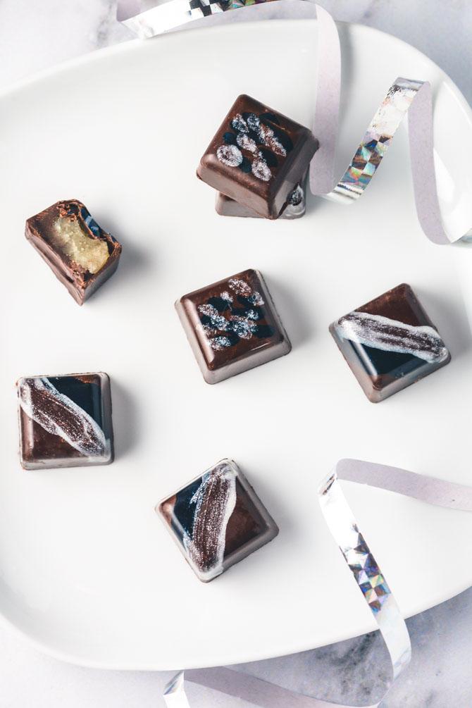 Fyldt chokolade med marcipan