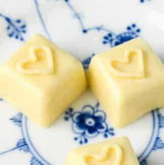 Hvid chokolade med hjerter
