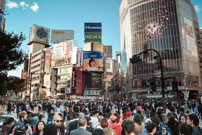 Shibuya fodgængerovergang i Tokyo