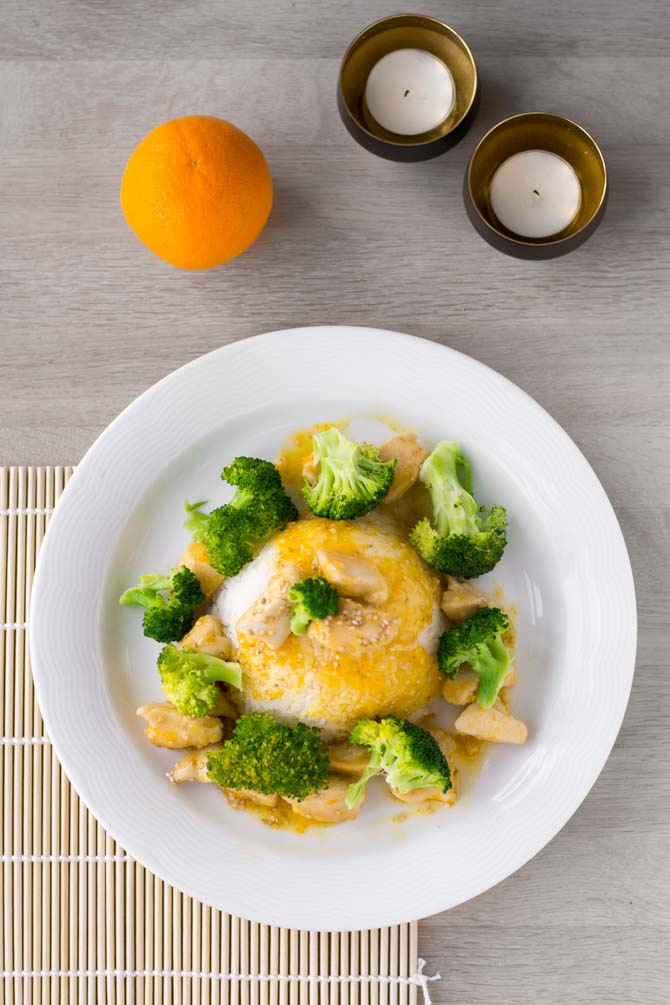 Kinesisk kylling opskrift med appelsinsauce